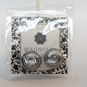 Magnolia & Vine Silver Button Earrings NWT